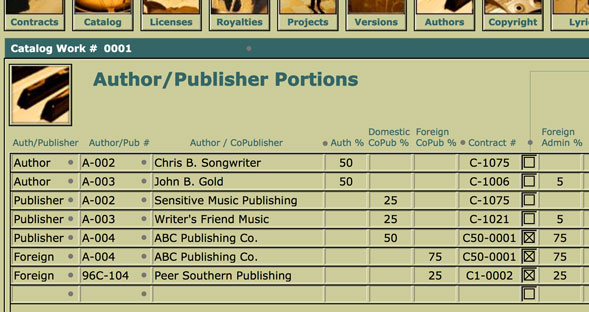 "This layout portal provides a place to enter each ""split"" for writers and copublishers on the currently viewed song."