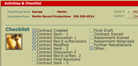 The checklist layout provides a place to stay updated on the progress of each Contract in your file.