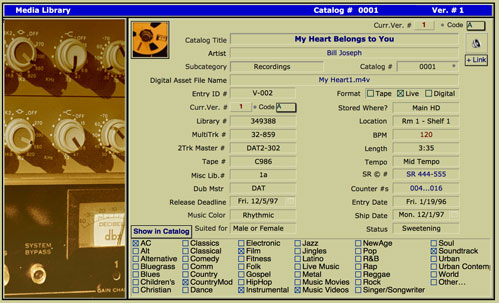 This screen provides many fields where you may log locations, sizes and attributes to each separate Version of a Song or video.